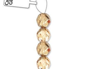 Czech Glass 8mm Facet Round Strand - 19 Beads - Apricot