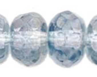 Czech Glass 5x7mm Fire Polish Rondelles - 25 Blue Luster Beads