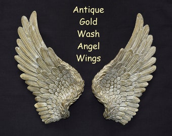 Vintage Antique Style Shabby Chic Gold Angel Wings Wall Art Decoration