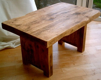 Hand Made Plank Chunky Rustic Coffee Table - Solid Wood 036