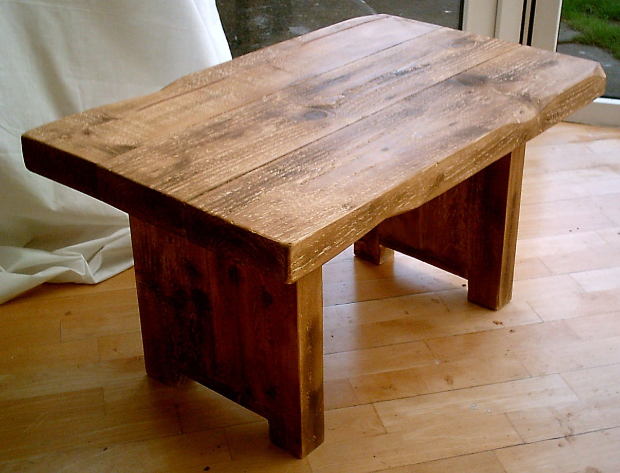 Hand Made Plank Chunky Rustic Coffee Table Solid Wood 036