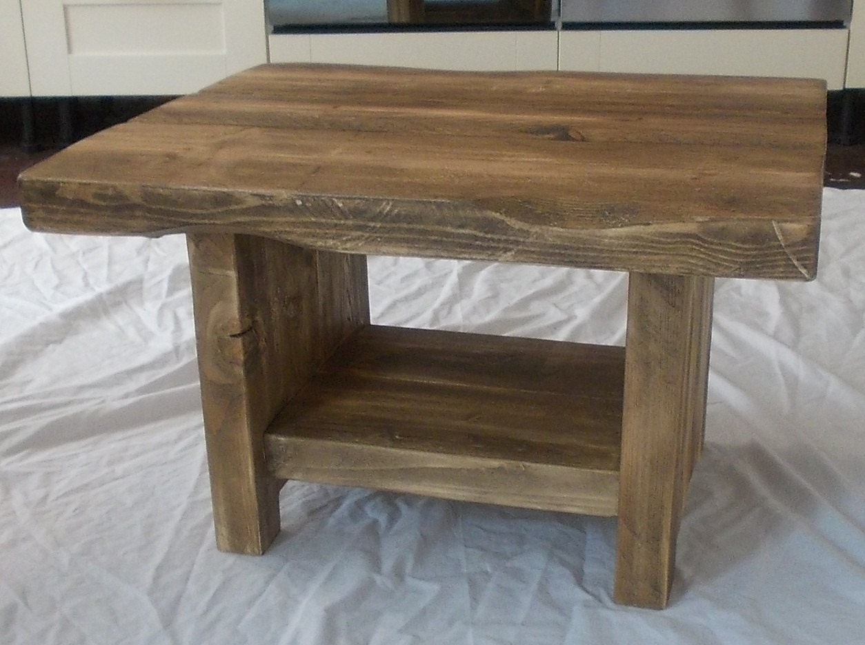 Rustic Chunky Coffee Table With Shelf 038