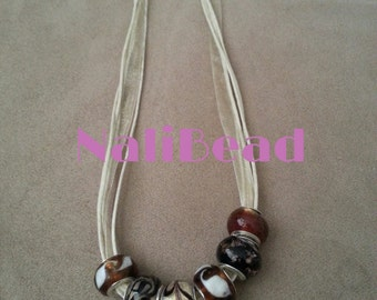 Brown European lamp work beaded necklace