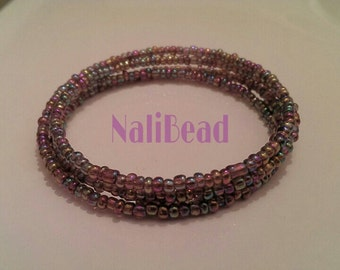 Purple/rainbow spiral wire beaded bracelet