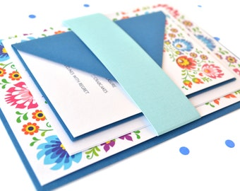 SAMPLE PACK - Modern Scandinavian Floral Wedding Invitations - Carol Collection