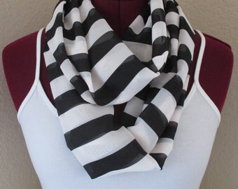 Trendy black & off white striped infinity scarf