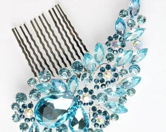 Vintage Style Encrusted Silver Turquoise Diamante Crystal Gem Hair Comb Fascinator Hair Grip Slide Bridal Wedding Party Bridesmaids