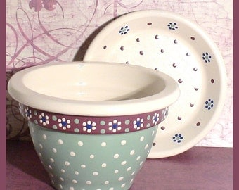 Sweet Sage Hand-painted 5 in Flower Pot and Saucer