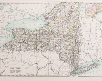 Large 1897 Blacks Antique Colour Map, United States (USA) State & County Map, New York