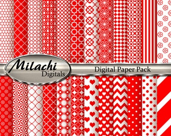 Red Digital Paper Pack, Scrapbook Papers, Commercial Use - Instant Download - M135