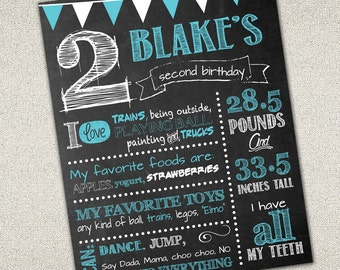 Chalkboard Birthday - first birthday chalkboard - Birthday Sign - Digital File