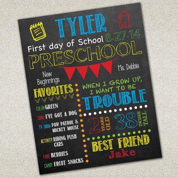 First Day of School Sign | Back to School | Printable Chalkboard ...