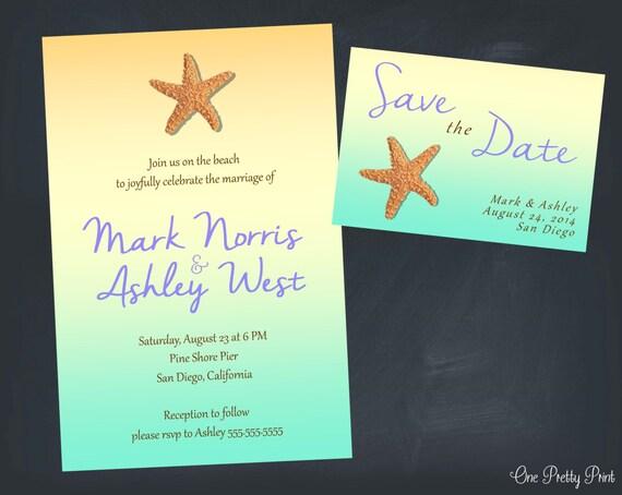 Printable Beach Wedding Invitations: Simple Beach Wedding Set With Starfish By OnePrettyPrint