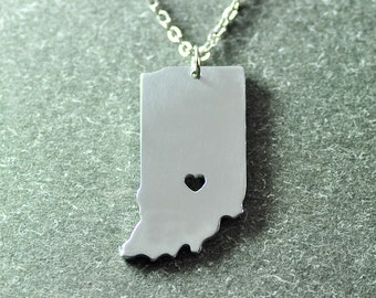 Free shipping - I  heart Indiana Necklace - State Charm - Map necklace - Map Jewelry - Indiana  Pendant - State Necklace