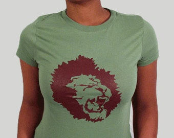 Distributed Lion Logo shirt for women, Green T-shirt, Logo shirt, Round neck, Short sleeves, Cotton shirt, Womenz shirt