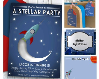 Outer Space Package, Space Birthday Invitation, editable INSTANT DOWNLOAD, Retro Rocket birthday party decorations, printable invitation