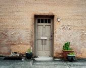 Doorway with Plants Fine Art Photo Print, color photography, door photography, vintage, minimalist, brick wall, potted plants, 8x10 print