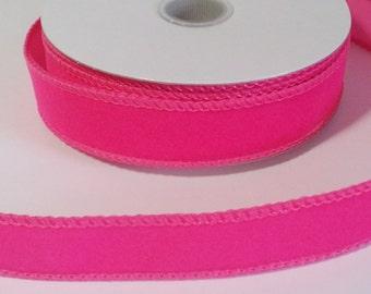 """7/8"""" Hot Pink Velvet Ribbon - 10 Yards"""