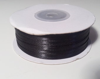 "1/8"" and 1/16"" Black Double Face Satin Ribbon - 100 Yards"