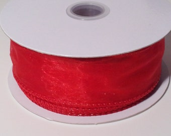 "1 1/2"" Wired Edge Organza Ribbon - Red - 10 Yards"
