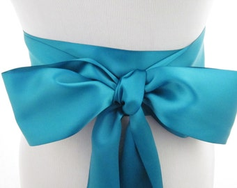 Deep Turquoise Ribbon Sash / Double Faced Ribbon Sash / Bridal Sash/Bridal Ribbon / Deep Turquoise