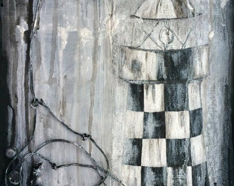 Original Lighthouse Painting - Textured Painting, Acrylic on Canvas