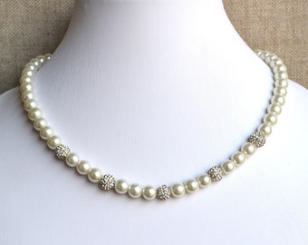 white pearl necklace,crystal pearl necklace,18 inches 8mm pearl necklaces,wedding necklace,bridesmaids necklace,glass pearls necklaces