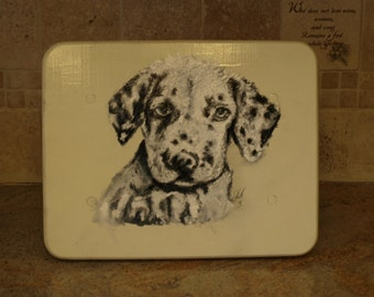 Dalmatian Puppy Painted Wooden Stool