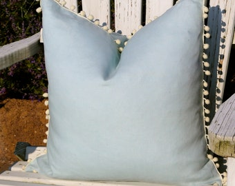 Linen Pillow Cover in Sky Blue with Off White PomPom Trim