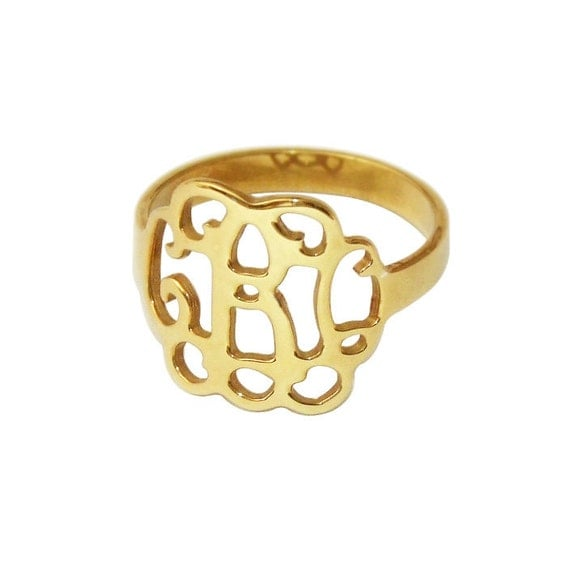 wholesale monogram cut out ring 18k gold by