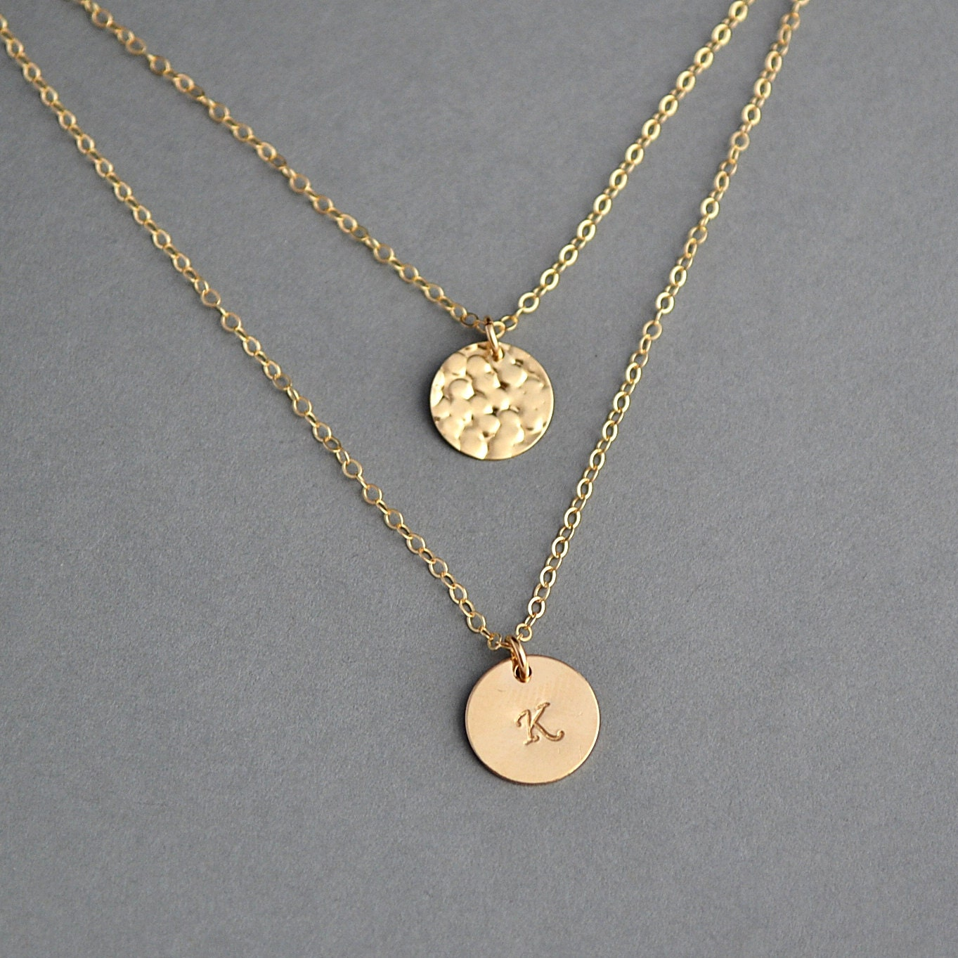 layering necklace layered disc necklace initial necklace. Black Bedroom Furniture Sets. Home Design Ideas