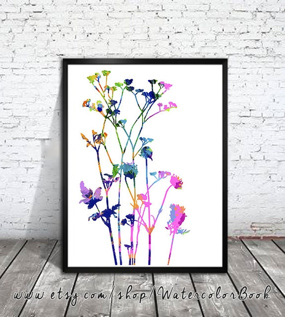 Cabbage Rose Flower Print Purple Abstract Art Kitchen Wall: Flowers Watercolor Print Watercolor Painting Watercolor