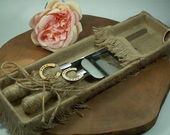 Cowboy Wedding,  wedding cake knife set, country and barn wedding Rustic cake knife set