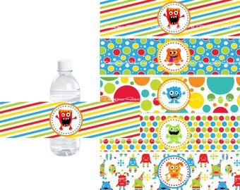 Little Monster Water Bottle Labels - INSTANT DOWNLOWD - DIY Printable File