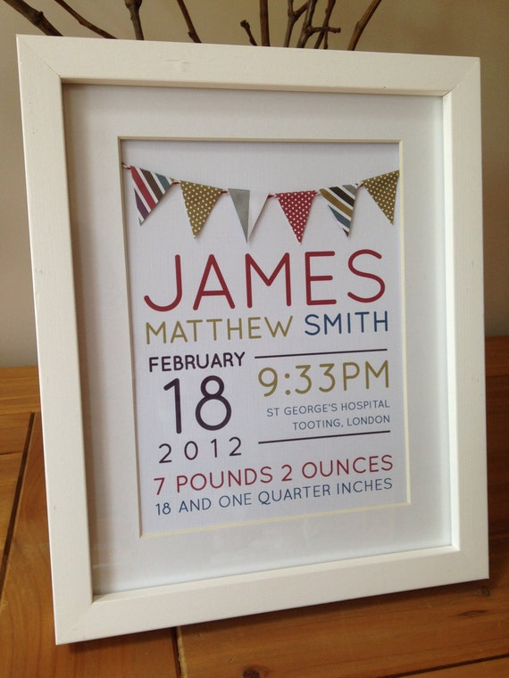 items similar to personalised new baby boy birth