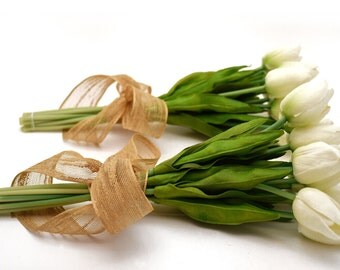 Stemple's One Dozen White Real Touch Artificial Tulips