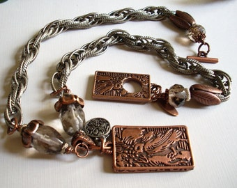 Antique Silver and Copper Bird Motif Chunky Chain Necklace