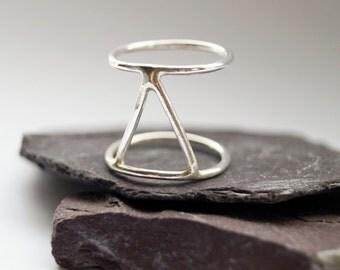Three Points Cage Sterling Silver Ring ~ stacking ring, triangle, geometry