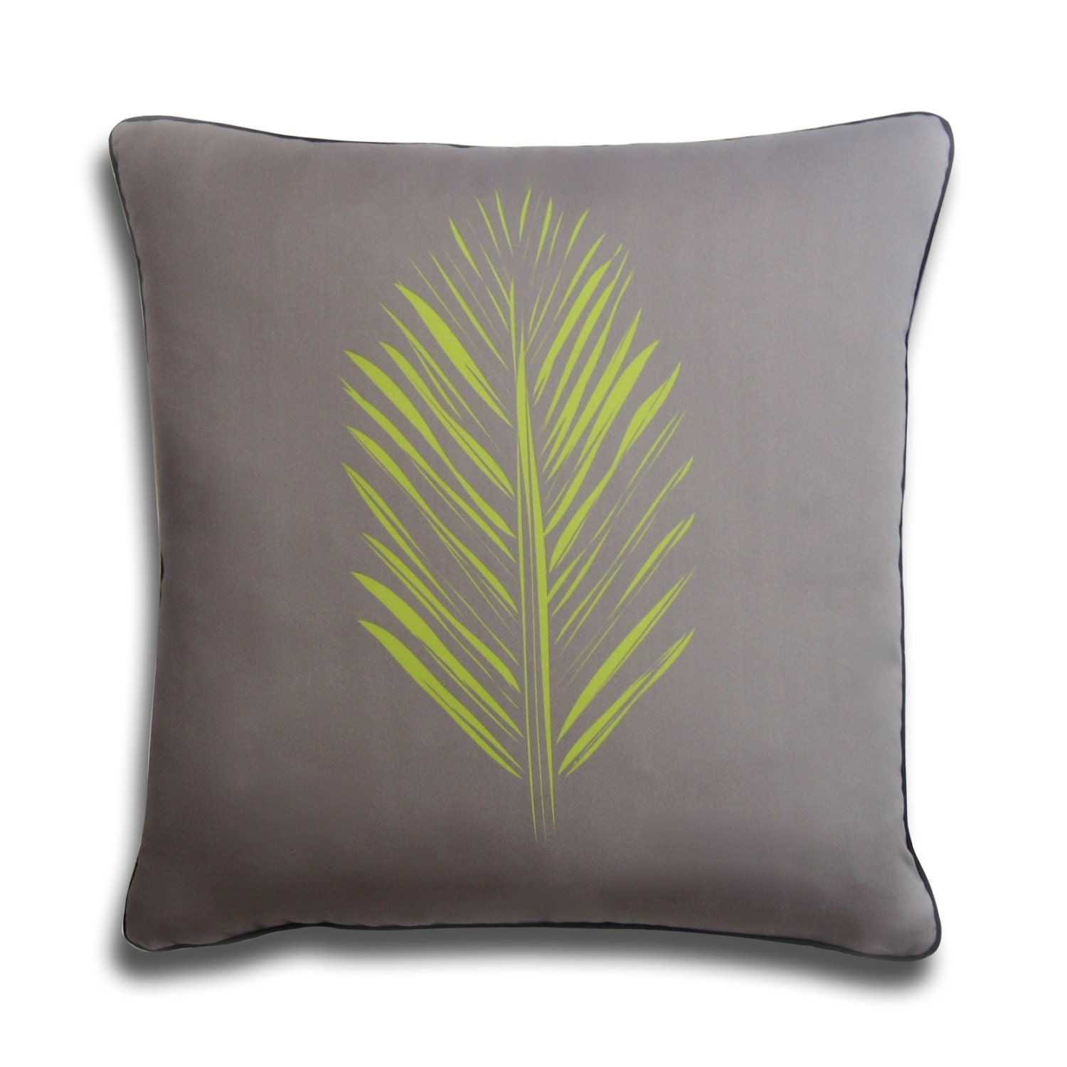 Gray and Green Feather Leaf Decorative Pillow Organic Cotton
