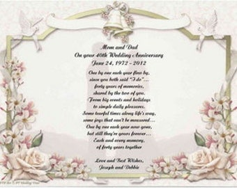 65th Wedding Anniversary Gift For Parents : Personalized 40th Wedding Anniversary Poem Gift For Mother, Father, or ...