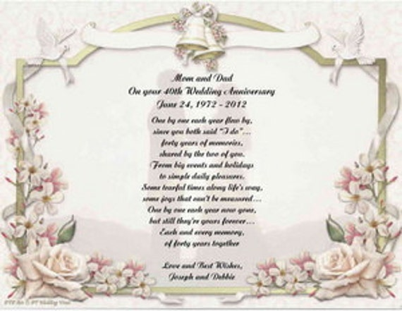 What Gift For 40th Wedding Anniversary: Personalized 40th Wedding Anniversary Poem Gift For Mother