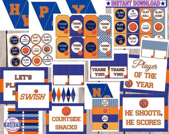 70% OFF Basketball Party, Instant Download, Basketball Birthday Party, basketball printables, sports, team sports, party printable, party