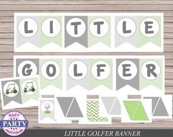 Little Golfer Party Banner, Instant Download, green, golf party, golf birthday, golf cart, golf ball, little golfer, golf pa