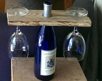 Rustic Wine bottle glass holder