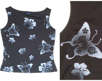 Butterfly & Hawaiian Flower Crop Top Size Small
