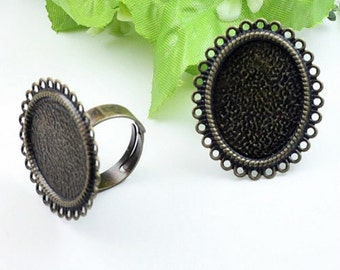 5pcs Antique Bronze Metal Adjustable Ring Base with 18x25mm Pad Cameo Setting.