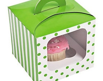 6 Polka Dot Cupcake Boxes with Handle, Cupcake Boxes,Individual Cupcake Boxes,Mini Cupcake Boxes, Cupcake Favor Boxes -