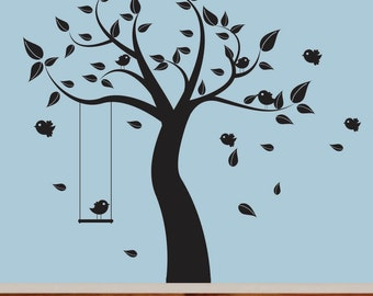 Superbe Nursery Wall Decal Black Tree With Birds Swing Vinyl Wall Decal