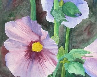 Large Hollyhocks... Original Watercolor Painting....Large Watercolor