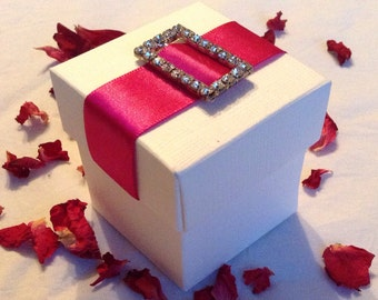 Quality DIY Diamanté Ribbon Favour Boxes X 10